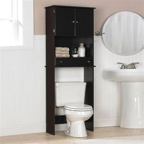 bathroom over the toilet storage cabinets black wooden bathroom cabinet with shelf and drawer above