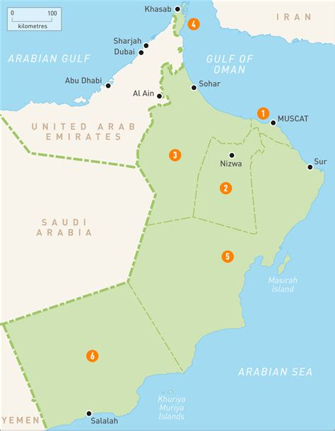 map  oman oman regions rough guides