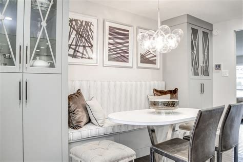 marvelous dining banquette  white chairs wolf