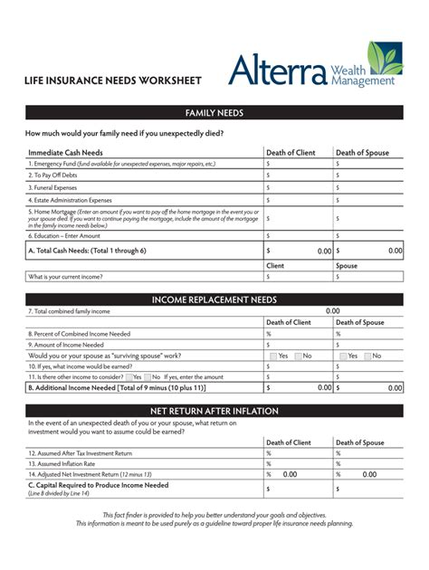 It's especially important to protect your family's quality of life to guard against the time you are no longer there to. Life Insurance Needs Worksheet - Fill Out and Sign Printable PDF Template   signNow