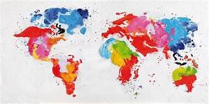 Carte Du Monde Design : tableau toile peinture carte du monde dipinto bois deco ~ Teatrodelosmanantiales.com Idées de Décoration