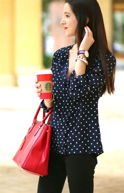 cute  classic fall fashion navy polka dot top