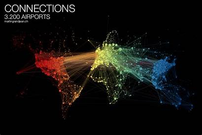 Network Map Traffic Air Airports Animated Connections