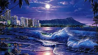 Hawaii Night Ocean Moon