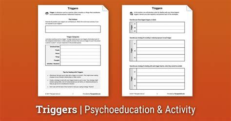triggers worksheet therapist aid