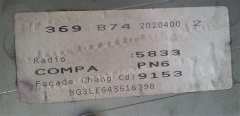 lost car radio codes   retrieved   serial