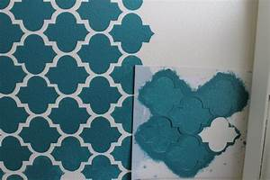Wall stencil paint brush with simple blue and white theme