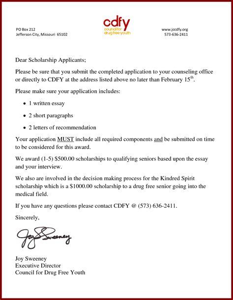 cover letter for scholarship sle docoments ojazlink