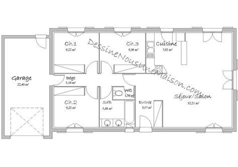 plan maison 5 chambres plain pied gratuit plans de maisons individuelles avec 3 chambres