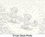 Snow Children Fort Down Little Coloring Building Snowy Slope Skiers Sliding Mountain Illustration Vector Cartoon sketch template