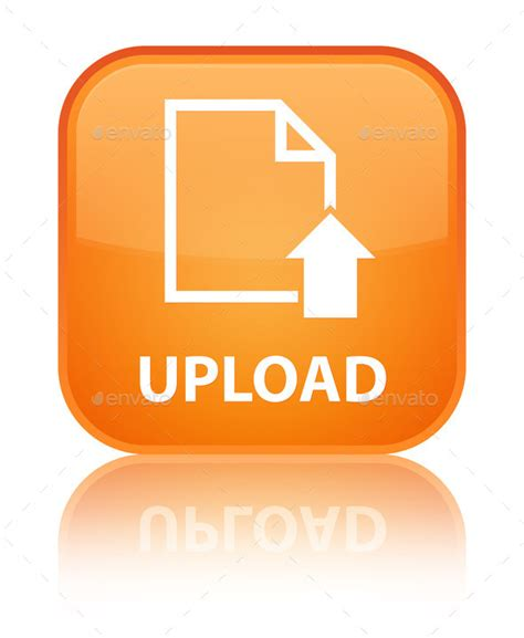 Orange, Square, Button, Document, File, Page, Up, Upload