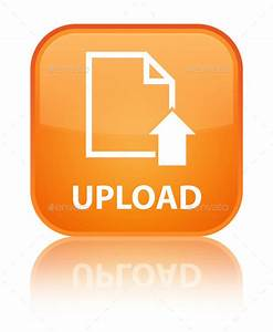 Upload document icon orange square button stock photo by for Upload documents button