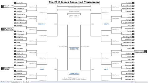 Tournament Spreadsheet Template by Excel Spreadsheets Help Downloadable 2013 Ncaa Tournament