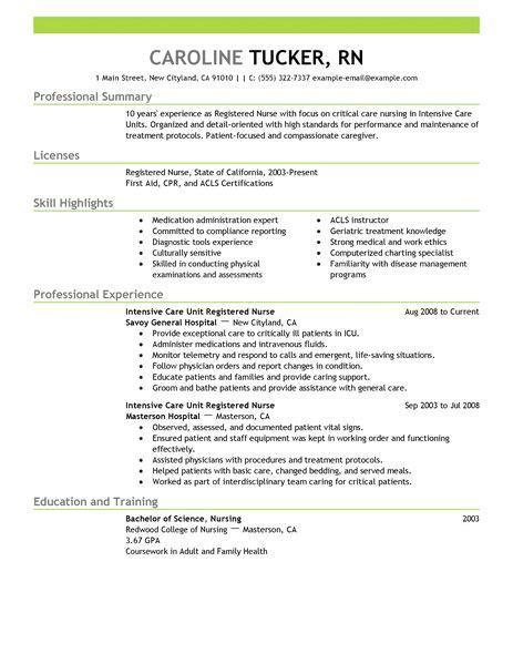 critical care resume skills intensive care unit registered resume exle sle resumes livecareer