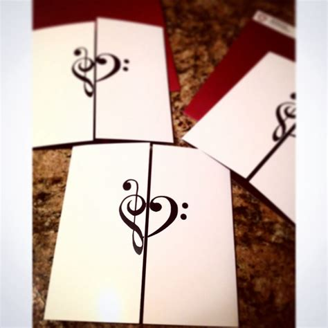 treble clef bass clef  themed invitation