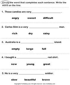 adjectives images english classroom learning