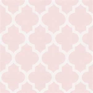 Blush Pink Hand Drawn Quatrefoil Fabric by the Yard Pink