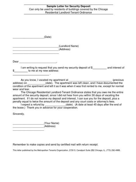 sle letter for security deposit