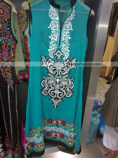 latest casual clothes  ferozi embroidered dress