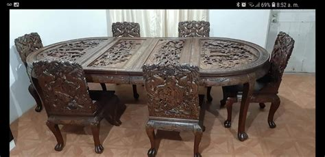 Dragon leg oriental end table inlaid pearl with gloss lacquer. Antique Dragon Carved Dining Table | My Antique Furniture ...