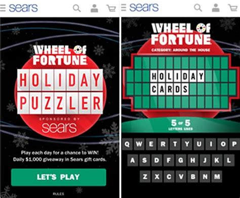 fortune wheel sears holiday daily sweepstakes puzzler answers rules sweeps prizes app okay rating game