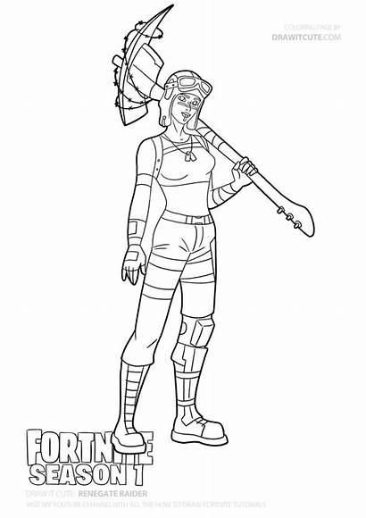 Coloring Draw Fortnite Raider Step Pages Drawing