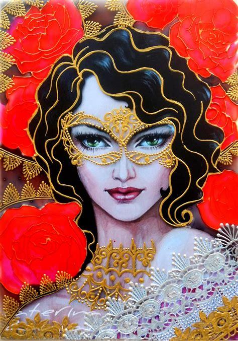 valentine girl glass painting creative art