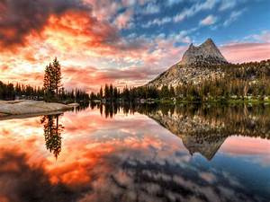 Landscape, Sunset, Reflection, Cathedral, Lake, Yosemite
