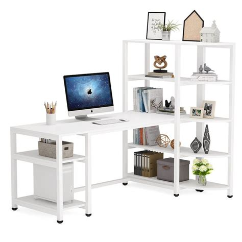 17 Stories L Shaped Computer Desk With 5-Tier Bookcase, 67 ...