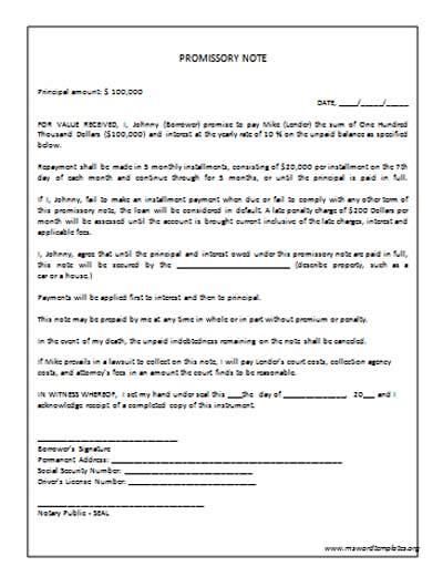 promissory note template  commercewordpress