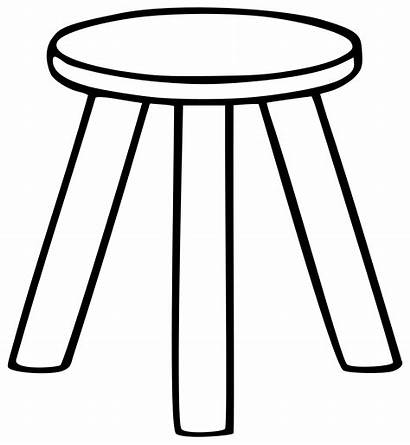 Chair Clipart Stool Outline Legged Coloring Line