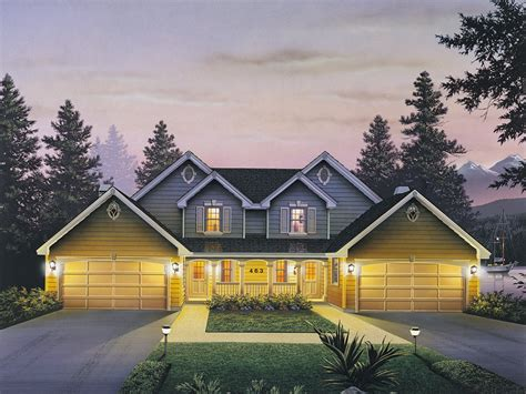 countryridge farmhouse duplex plan   house plans