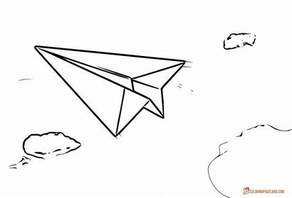 Coloring Airplane Paper Pages Airplanes Clouds Plane