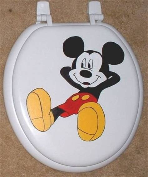 hand painted mickey mouse toilet seat sale  cindyscorner