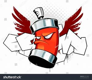 Cool Can Wings On Graffiti Background Stock Vector