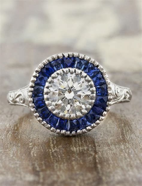 joanna vintage inspired ring with sapphire halo and filigree ken design