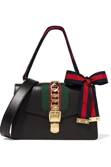 gucci sylvie medium chain embellished leather shoulder