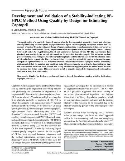 (PDF) Development and Validation of a Stability-indicating