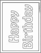 Birthday Coloring Cards Printable Card Happy Colorwithfuzzy Colouring Pdf Mom Adult Customizable Banners Quote Signs Boys Below sketch template