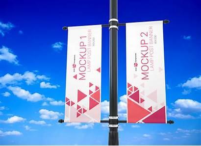 Mockup Banner Lamp Outdoor Psd Advertising Hanging