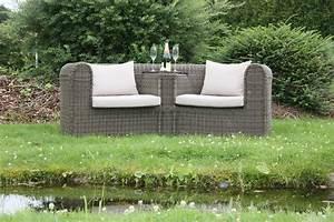 Rattan Gartenmöbel Wetterfest : hochwertiges love seat sofa calais alu polyrattan grau braun wetterfest ebay ~ Buech-reservation.com Haus und Dekorationen