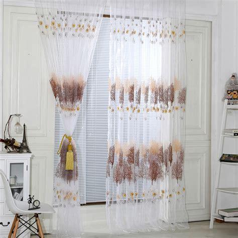 tree pattern tulle voile door room window curtain drape