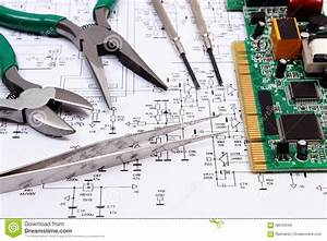 Printed Circuit Board And Precision Tools On Diagram Of