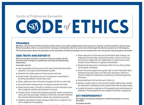 Journalism Code Of Ethics by Code Of Ethics Journalism Pdf