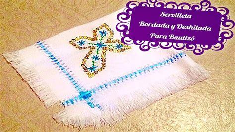 como realizar servilletas bordadas y deshiladas para bautizo
