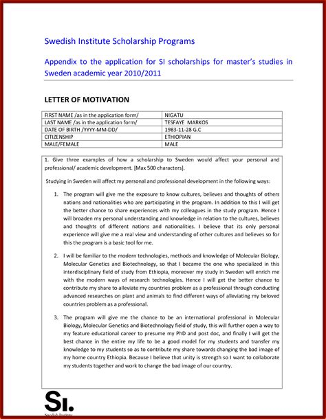 motivation letter for scholarship pdf