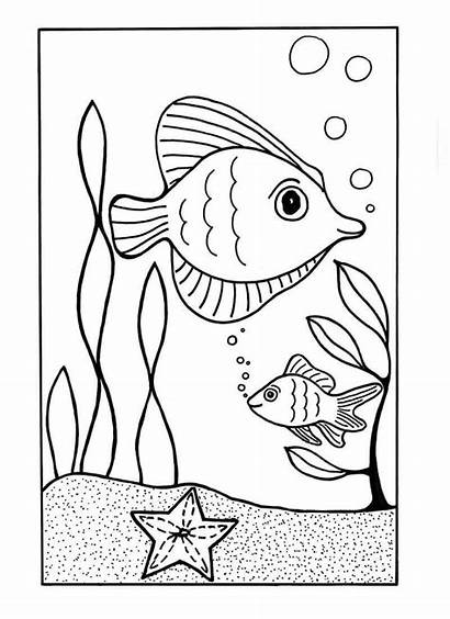 Coloring Ocean Sea Pages Under Printable Fish