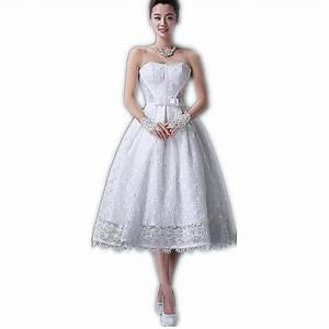 White Lace Tea Length Wedding Dress Strapless Lace up Back ...
