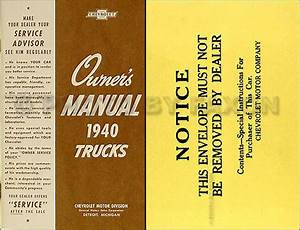 1940 Chevy Pickup And Truck Owners Manual With Envelope 40