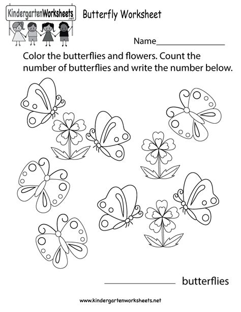 butterfly worksheet free kindergarten learning worksheet